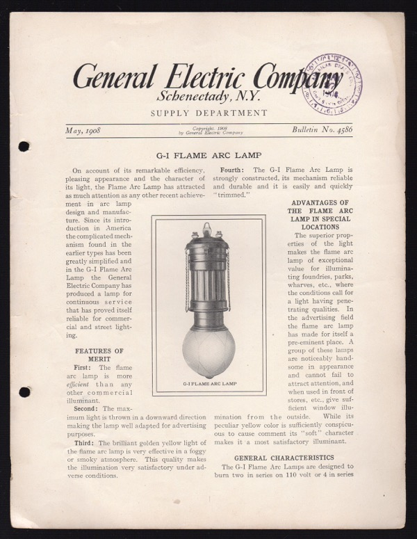Image for GENERAL ELECTRIC COMPANY, SCHENECTADY, N.Y., SUPPLY DEPARTMENT, MAY 1908, BULLETIN NO. 4586