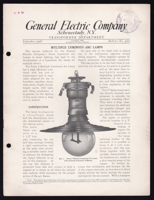 Image for GENERAL ELECTRIC COMPANY, SCHENECTADY, N.Y., TRANSFORMER DEPARTMENT, SEPTEMBER 1908, BULLETIN NO. 4621