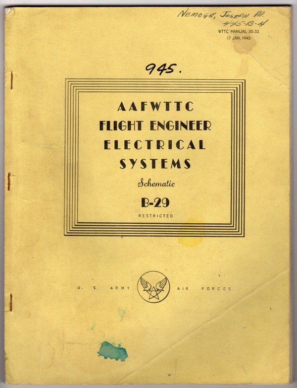 Image for AAFWTTC FLIGHT ENGINEER ELECTRICAL SYSTEMS, SCHEMATIC, B-29, RESTRICTED